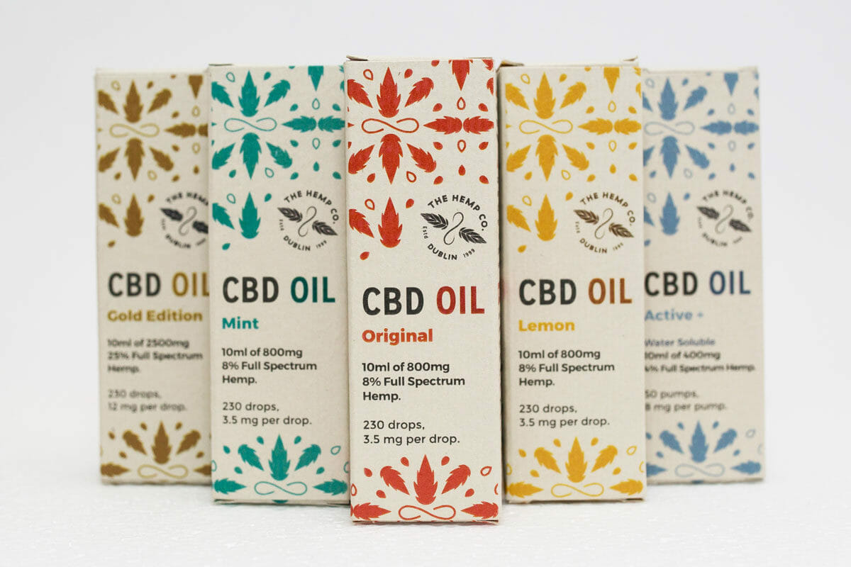 The hemp company CBD oil range in hemp paper boxes. This product range can be purchased online, in-store or with one of our many retailers.