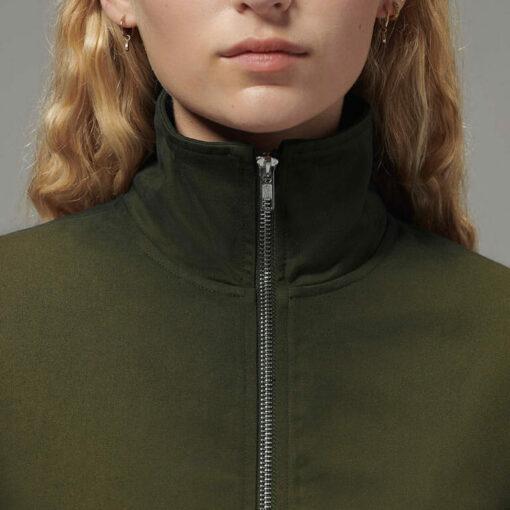Ladies side zip jacket close-up on zipper