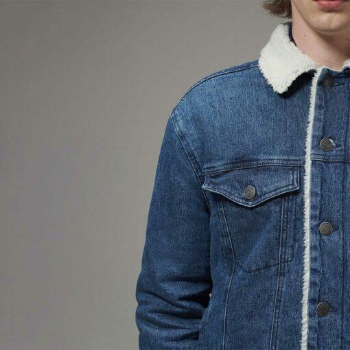 Men's Designer Trucker Jacket with Sherpa Lining by Hemp Tailors