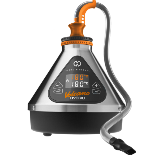 Front facing view of the Volcano Hybrid dry herb Vaporizer with tubing from Storz & Bickel