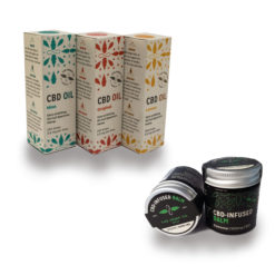 Three Boxs of The Hemp Company CBD Oil beside two Hemp COmpany CBD Xtreme Balms