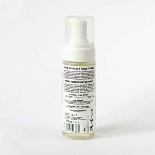 Foamy Hemp Soap Bottle Back by Herbs & Hydro