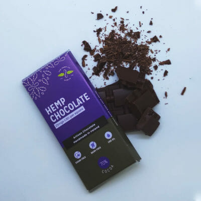Hemp Chocolate Open Chocolate Bar in bits