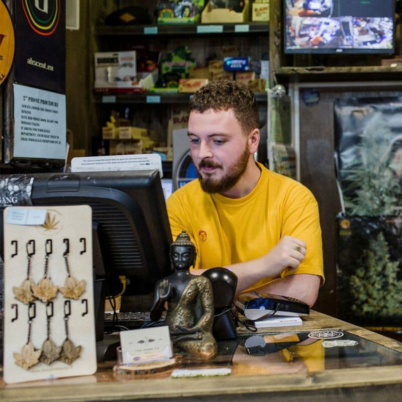 Jonny at the cash register in Capel Street